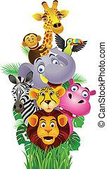 Funny animals - Vector illustration of Funny animals cartoon
