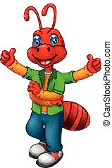 funny ant cartoon standing with smile and waving