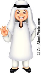 funny arabian man cartoon standing with smile and waving