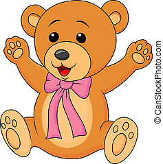 Funny baby bear cartoon waving - Vector illustration of...