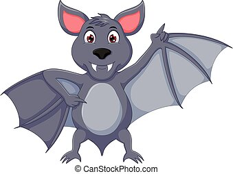 funny bat cartoon standing with laughing and waving