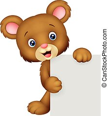 Funny bear cartoon holding blank si - Vector illustration of...
