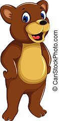 funny bear cartoon smiling