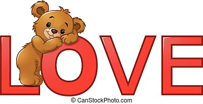 "Funny bear on the red word ""love"""