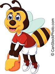 funny bee cartoon carrying honey