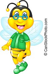 funny bee cartoon flying with smile