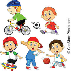 Vector illustration of Funny boy cartoon character doing sport