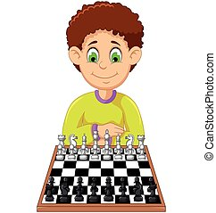 funny boy cartoon playing chess