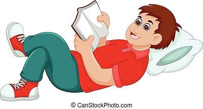 funny boy cartoon reading book with sleep