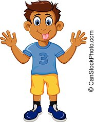 funny boy cartoon showing his tongu