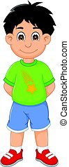 funny boy cartoon standing with smiling