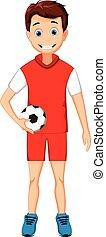 funny boy cartoon with football