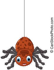 funny brown spider cartoon posing