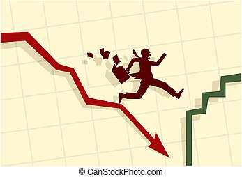 Vector illustration of funny businessman running in panic