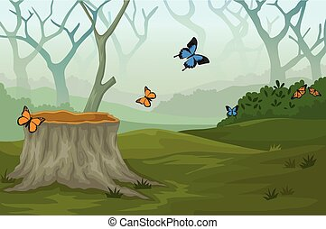 funny butterfly in the deep forest