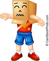 funny cardboard cartoon standing with smile and waving