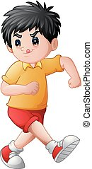 Funny cartoon boy sticking his tongue out
