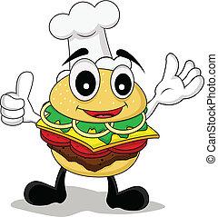 vector illustration of funny cartoon chef burger