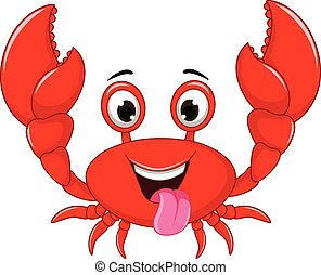 funny cartoon crab - vector illustration of funny cartoon...