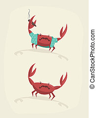 Vector illustration of funny cartoon crab