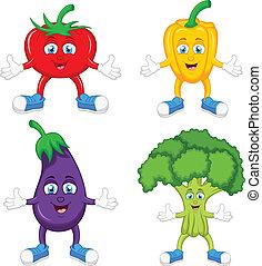 Funny cartoon cute vegetables