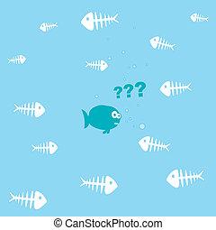 cartoon fish and a lot of fishbones