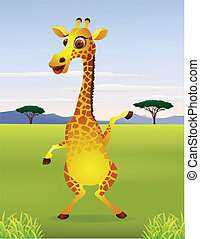 Funny cartoon giraffe standing - Vector illustration of ...
