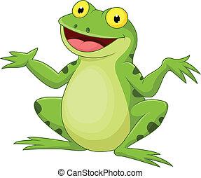 Funny cartoon green frog