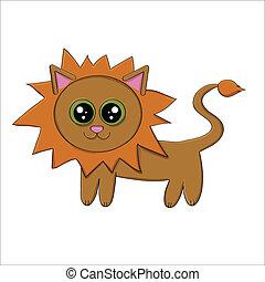 Vector illustration of funny cartoon lion