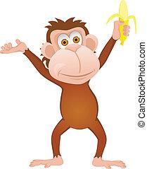 Funny cartoon monkey with banana is