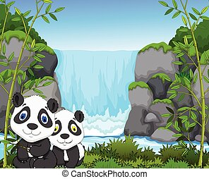 funny cartoon panda with waterfall