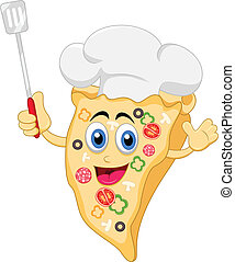 funny cartoon pizza chef character - vector illustration of...