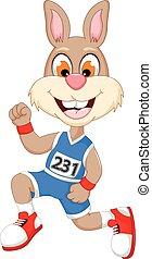 funny cartoon rabbit marathon athletes