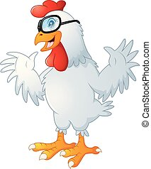 Funny cartoon rooster waving with glasses