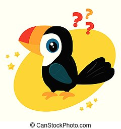 Vector illustration of funny cartoon toucan