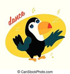 Vector illustration of funny cartoon toucan