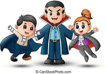 Funny cartoon vampire in Halloween costumes