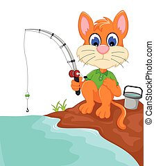 funny cat cartoon fishing in the river