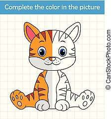Funny cat sitting. Complete the picture children drawing game