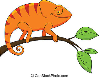 Funny chameleon cartoon - Vector Illustration Of Funny...