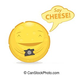 Vector illustration of funny cheese with photo camera