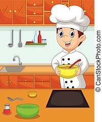 funny chef cartoon bring bowl in th - vector illustration of...