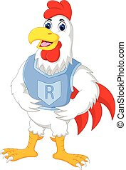 funny chicken cartoon standing with smile