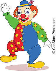 Funny clown cartoon - Vector illustration of Funny clown...