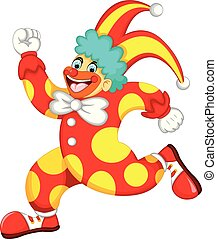 funny clown cartoon running with laughing and waving