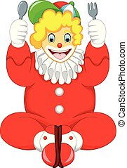funny clown cartoon sitting with smile and bring fork and spoon