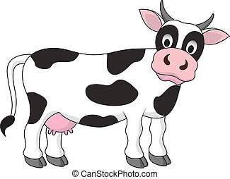 funny cow cartoon - Vector illustration of funny cow cartoon