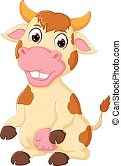 funny cow cartoon posing with smiling