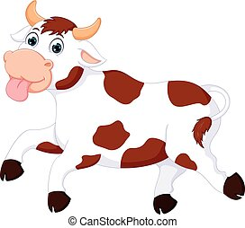 funny cow cartoon running with laughing