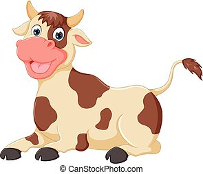 funny cow cartoon sitting with laughing